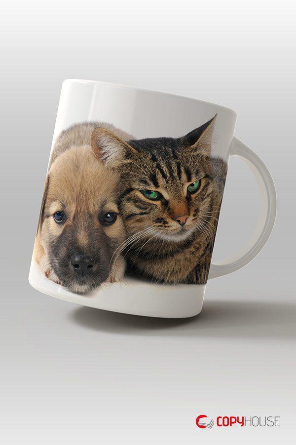 Tassen und Becher mit dem eigenen Wunschmotiv wie Hunde und Katzen schnell und günstig in Bremen drucken lassen.